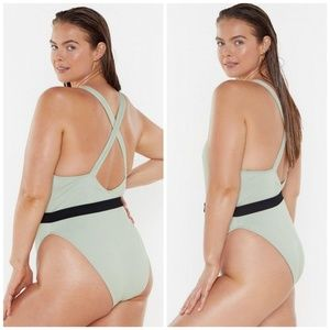 Nasty Gal Plunging Neckline Belted Swimsuit NEW